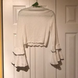 LF strores white cropped shirt with flair sleeves